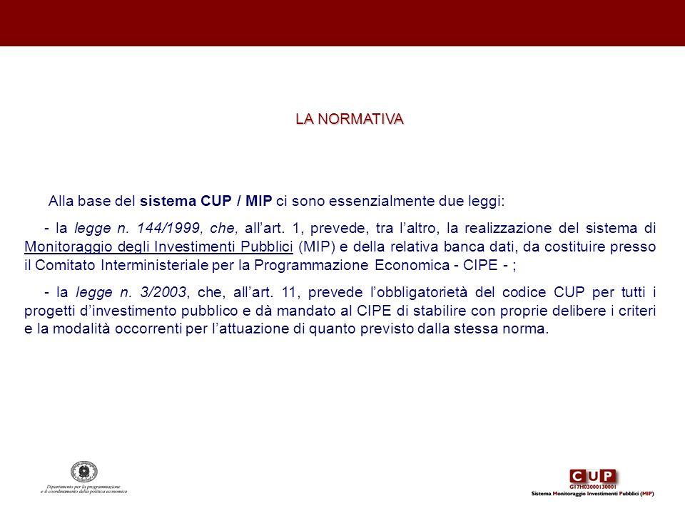 LA NORMATIVA Alla base del sistema CUP / MIP ci sono essenzialmente due leggi: - la legge n. 144/1999, che, allart. 1, prevede, tra laltro, la realizz
