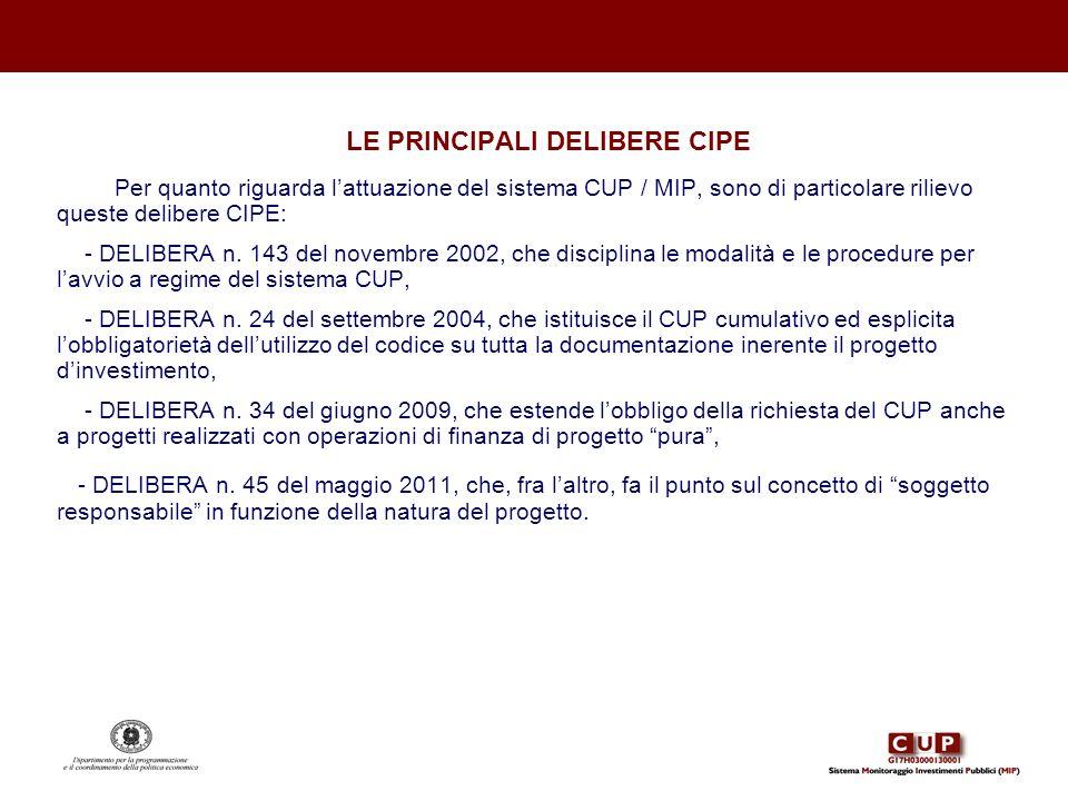 LE PRINCIPALI DELIBERE CIPE Per quanto riguarda lattuazione del sistema CUP / MIP, sono di particolare rilievo queste delibere CIPE: - DELIBERA n. 143