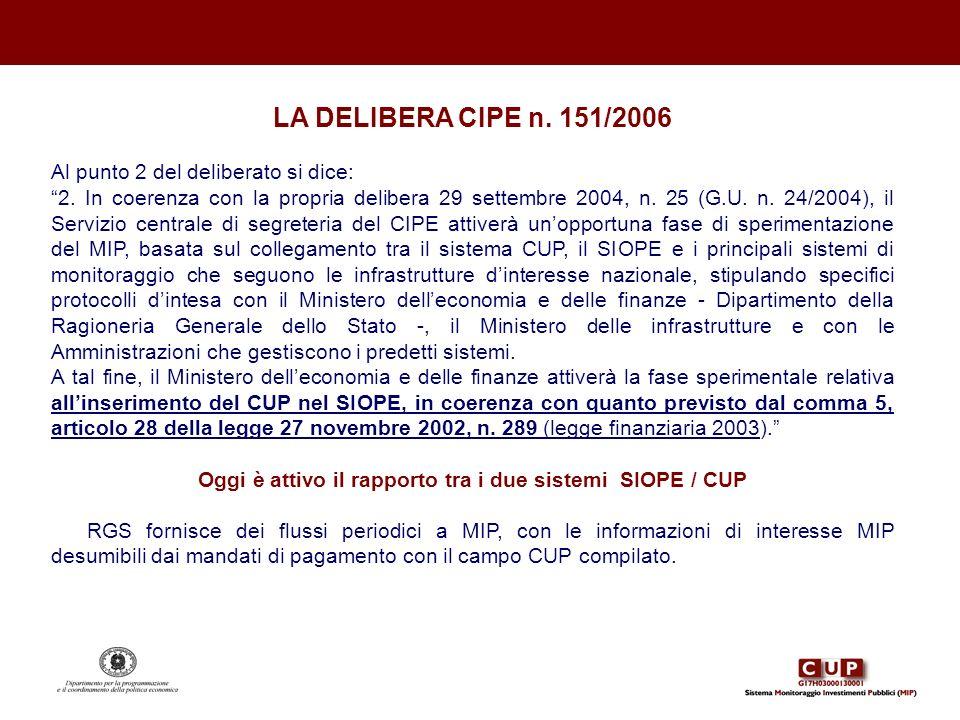LA DELIBERA CIPE n. 151/2006 Al punto 2 del deliberato si dice: 2. In coerenza con la propria delibera 29 settembre 2004, n. 25 (G.U. n. 24/2004), il