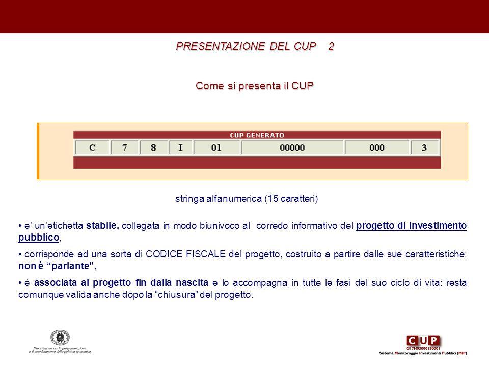 PRESENTAZIONE DEL CUP 2 Come si presenta il CUP stringa alfanumerica (15 caratteri) e unetichetta stabile, collegata in modo biunivoco al corredo info