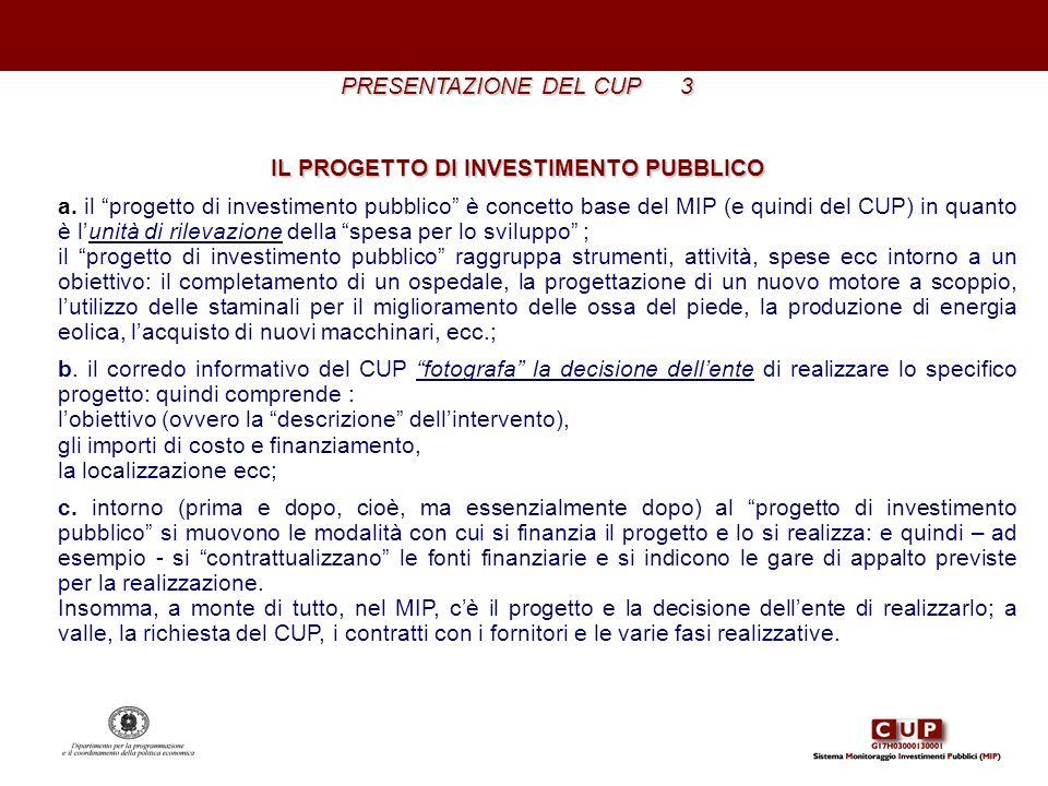 PRESENTAZIONE DEL CUP 3 IL PROGETTO DI INVESTIMENTO PUBBLICO a. il progetto di investimento pubblico è concetto base del MIP (e quindi del CUP) in qua