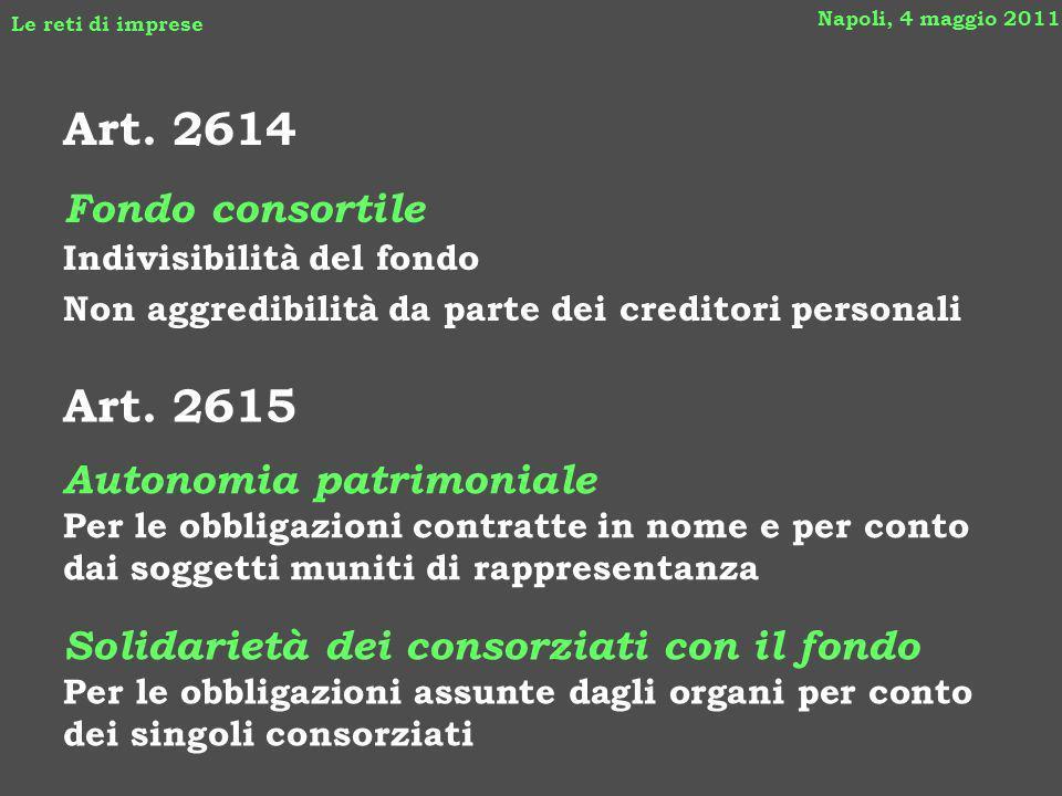 Napoli, 4 maggio 2011 Le reti di imprese Art. 2614 Fondo consortile Indivisibilità del fondo Non aggredibilità da parte dei creditori personali Art. 2