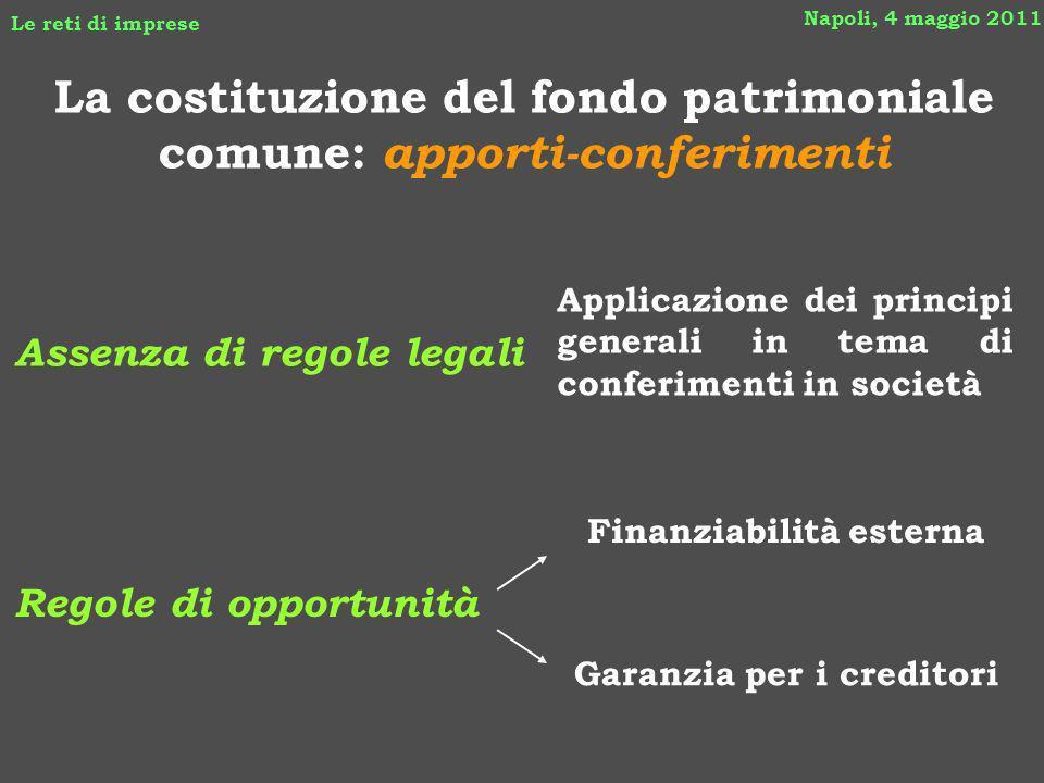La costituzione del fondo patrimoniale comune: apporti-conferimenti Napoli, 4 maggio 2011 Le reti di imprese Assenza di regole legali Garanzia per i c