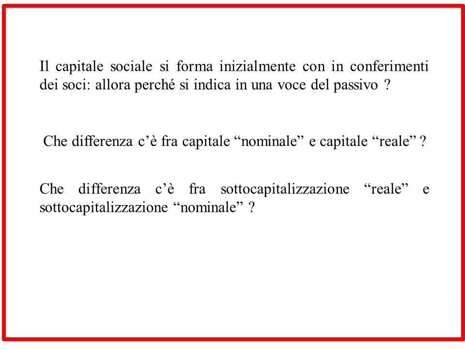 Per capitale sociale si intende la voce del patrimonio netto (capitale nominale), sia la frazione ideale di patrimonio che la bilancia allattivo (capitale reale).