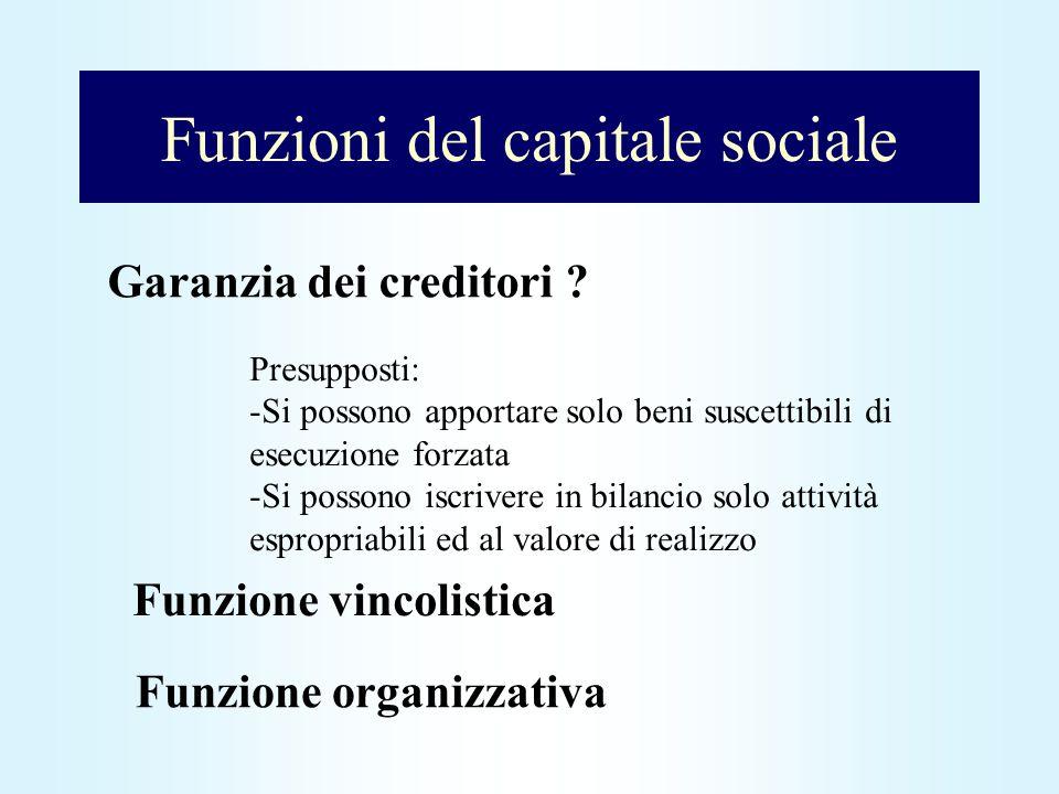 Funzioni del capitale sociale Garanzia dei creditori ? Presupposti: -Si possono apportare solo beni suscettibili di esecuzione forzata -Si possono isc