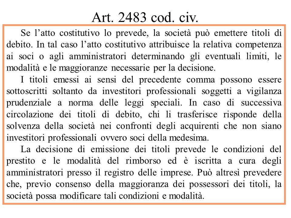 TITOLI DI DEBITO CONVERTIBILI .Art. 2468.
