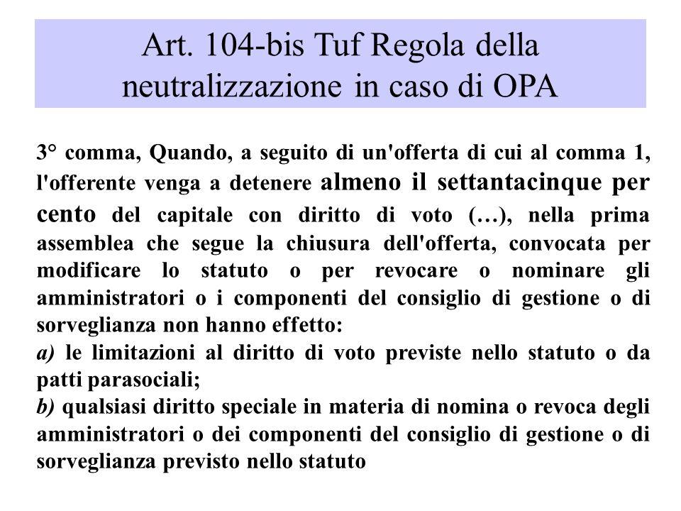 Art. 104-bis Tuf Regola della neutralizzazione in caso di OPA 3° comma, Quando, a seguito di un'offerta di cui al comma 1, l'offerente venga a detener
