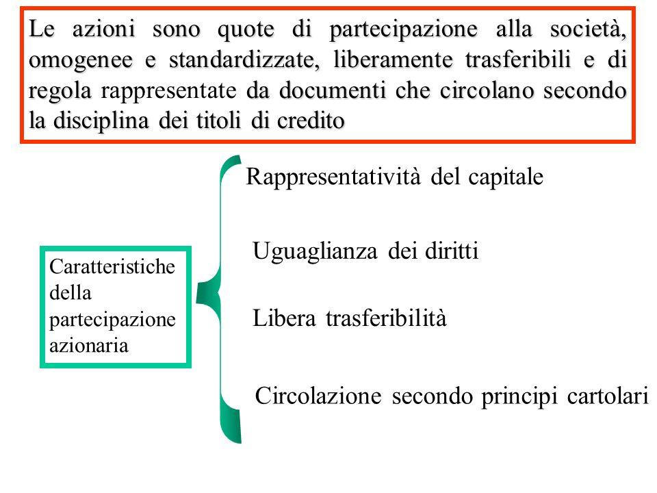 Le azioni sono quote di partecipazione alla società, omogenee e standardizzate, liberamente trasferibili e di regola da documenti che circolano second