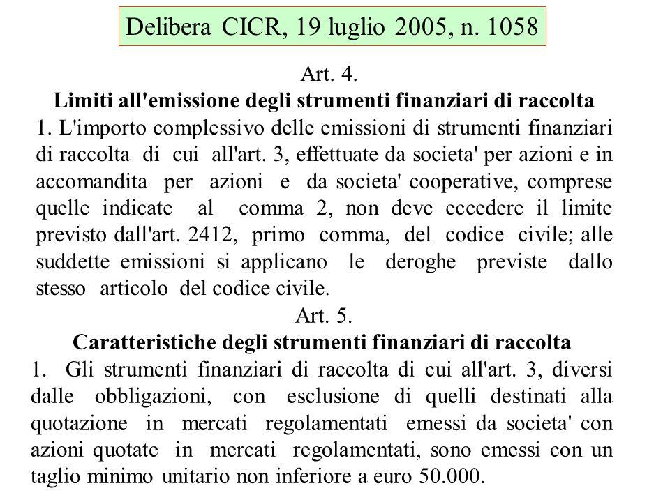 Art. 4. Limiti all'emissione degli strumenti finanziari di raccolta 1. L'importo complessivo delle emissioni di strumenti finanziari di raccolta di cu