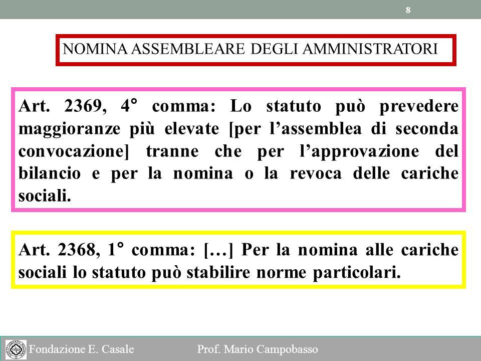 8 8 Fondazione E.Casale Prof. Mario Campobasso NOMINA ASSEMBLEARE DEGLI AMMINISTRATORI Art.