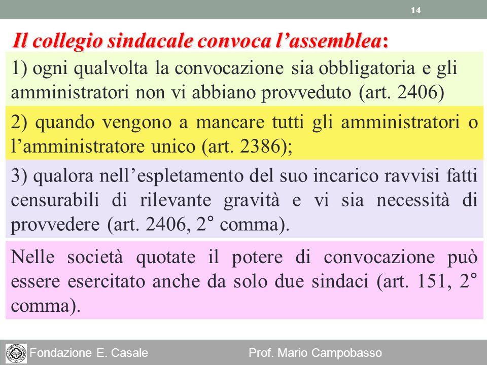14 Fondazione E. Casale Prof. Mario Campobasso Il collegio sindacale convoca lassemblea: 1) ogni qualvolta la convocazione sia obbligatoria e gli ammi