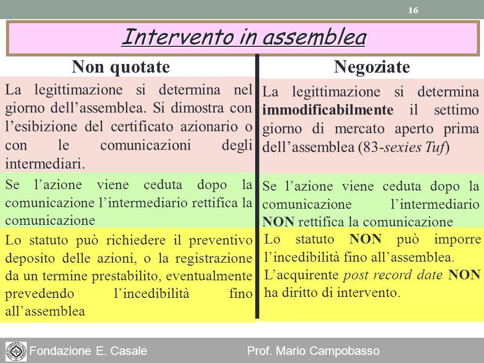 16 Fondazione E. Casale Prof. Mario Campobasso Intervento in assemblea La legittimazione si determina nel giorno dellassemblea. Si dimostra con lesibi