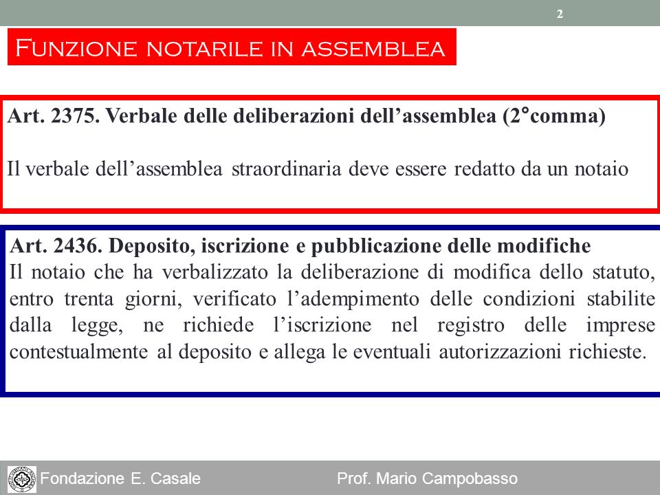 2 Fondazione E. Casale Prof. Mario Campobasso 2 Art. 2375. Verbale delle deliberazioni dellassemblea (2°comma) Il verbale dellassemblea straordinaria