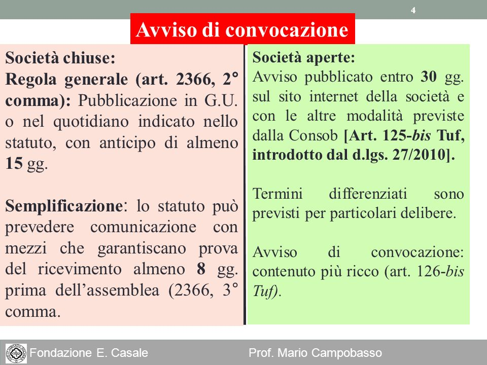 4 Fondazione E. Casale Prof. Mario Campobasso Avviso di convocazione Società chiuse: Regola generale (art. 2366, 2° comma): Pubblicazione in G.U. o ne