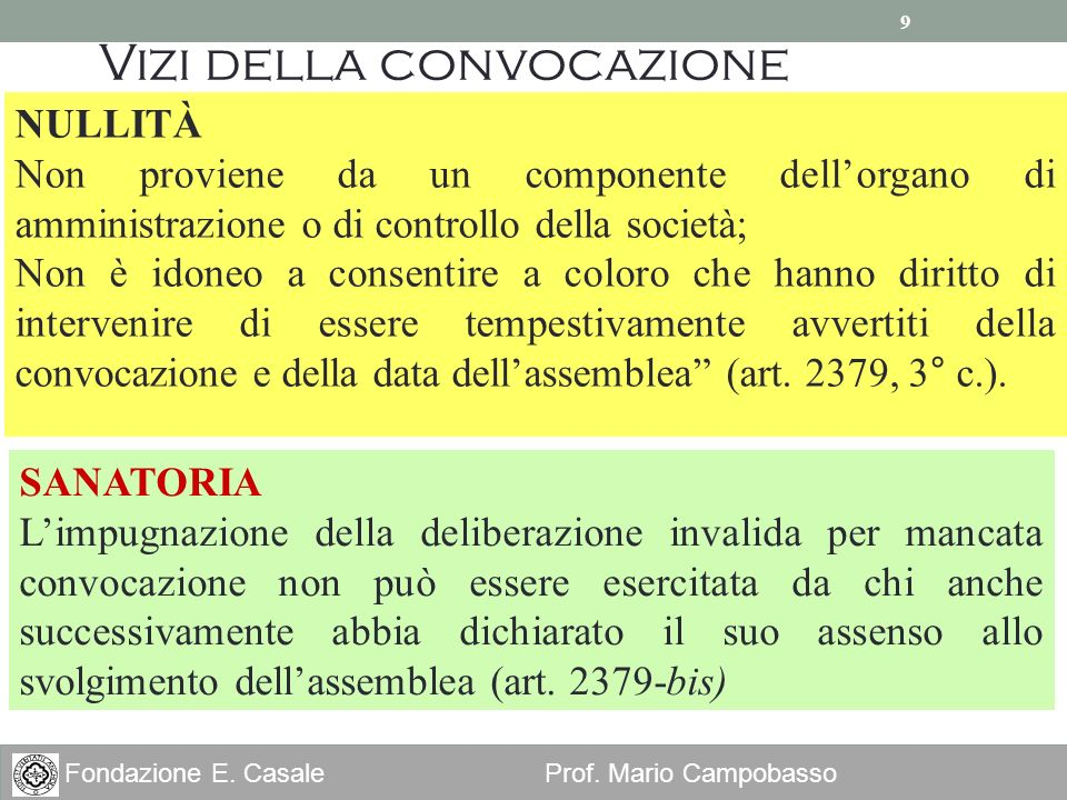 9 Fondazione E. Casale Prof. Mario Campobasso Vizi della convocazione NULLITÀ Non proviene da un componente dellorgano di amministrazione o di control