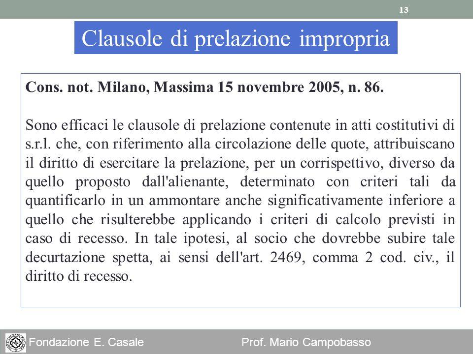 13 Fondazione E. Casale Prof. Mario Campobasso Clausole di prelazione impropria Cons. not. Milano, Massima 15 novembre 2005, n. 86. Sono efficaci le c