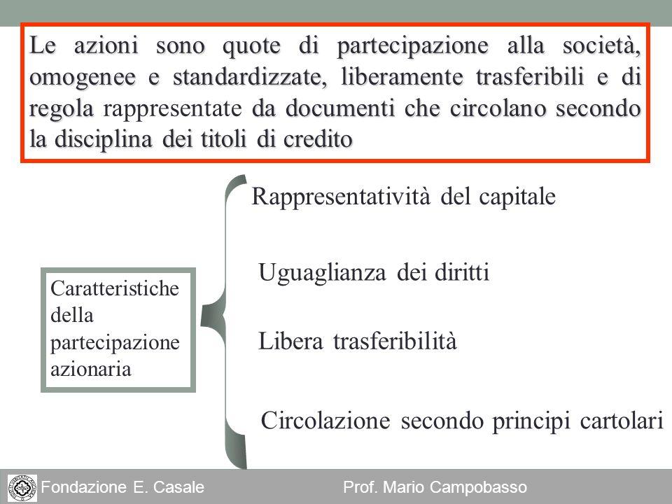 2 Fondazione E. Casale Prof. Mario Campobasso Le azioni sono quote di partecipazione alla società, omogenee e standardizzate, liberamente trasferibili