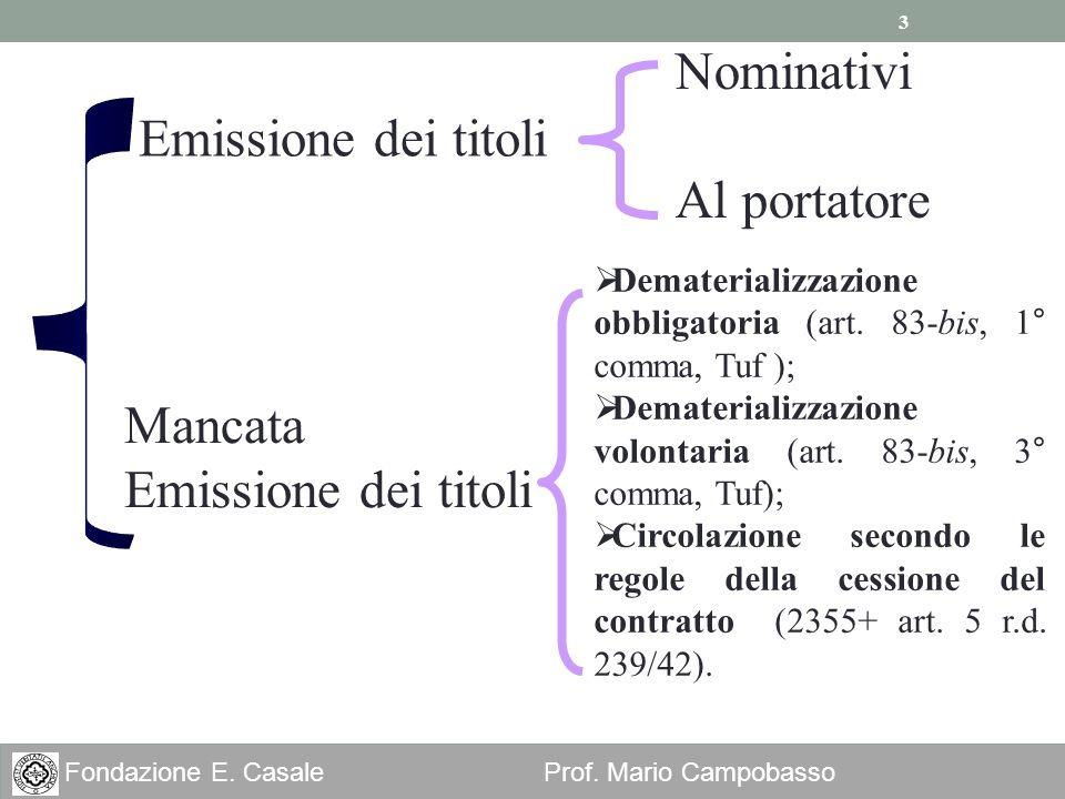 3 Fondazione E. Casale Prof. Mario Campobasso Emissione dei titoli Mancata Emissione dei titoli Nominativi Al portatore Dematerializzazione obbligator