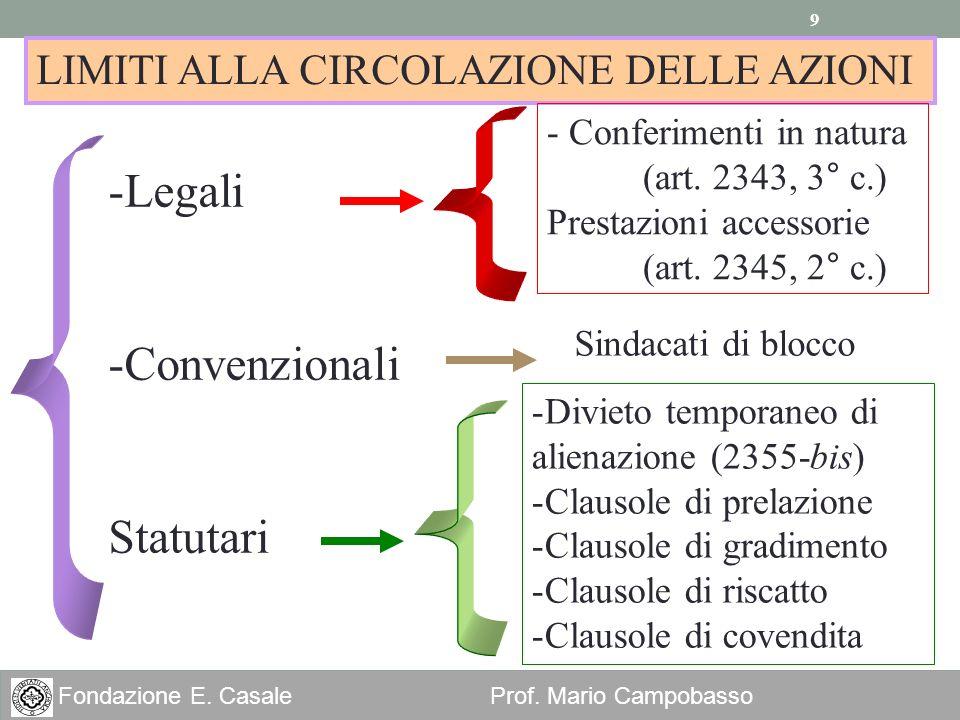 9 Fondazione E. Casale Prof. Mario Campobasso LIMITI ALLA CIRCOLAZIONE DELLE AZIONI -Legali -Convenzionali Statutari - Conferimenti in natura (art. 23