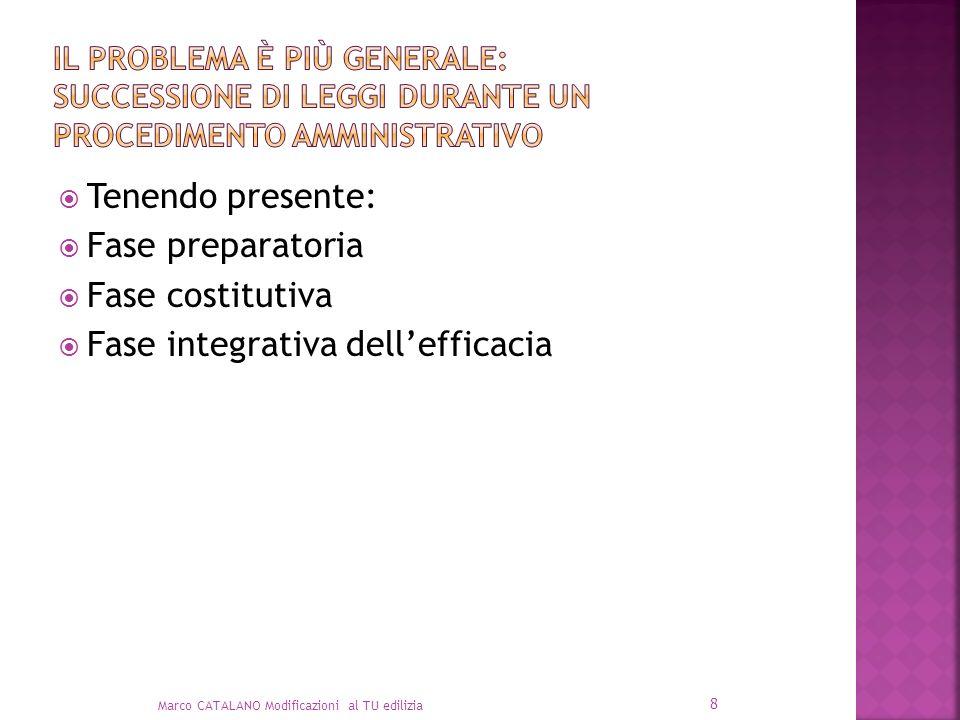 Tenendo presente: Fase preparatoria Fase costitutiva Fase integrativa dellefficacia Marco CATALANO Modificazioni al TU edilizia 8