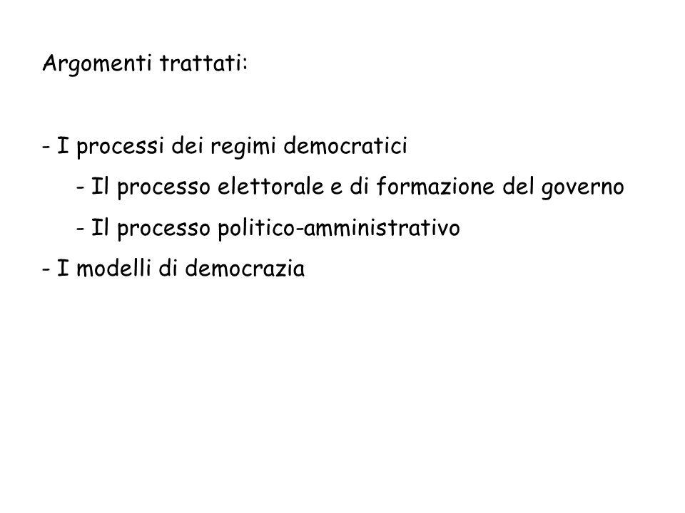 Argomenti trattati: - I processi dei regimi democratici - Il processo elettorale e di formazione del governo - Il processo politico-amministrativo - I