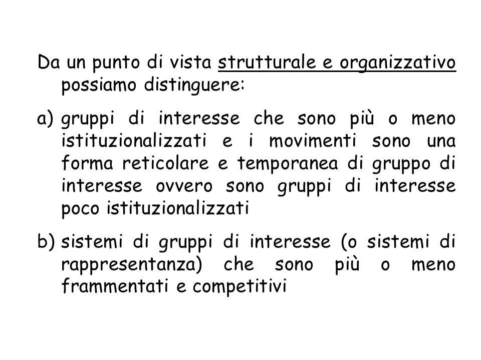 Da un punto di vista strutturale e organizzativo possiamo distinguere: a)gruppi di interesse che sono più o meno istituzionalizzati e i movimenti sono