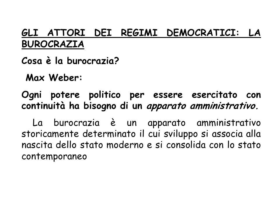 GLI ATTORI DEI REGIMI DEMOCRATICI: LA BUROCRAZIA Cosa è la burocrazia? Max Weber: Ogni potere politico per essere esercitato con continuità ha bisogno