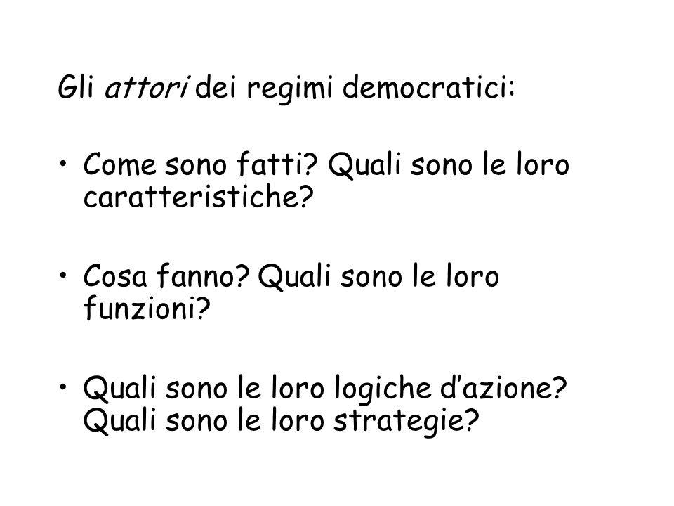Gli attori dei regimi democratici: Come sono fatti? Quali sono le loro caratteristiche? Cosa fanno? Quali sono le loro funzioni? Quali sono le loro lo