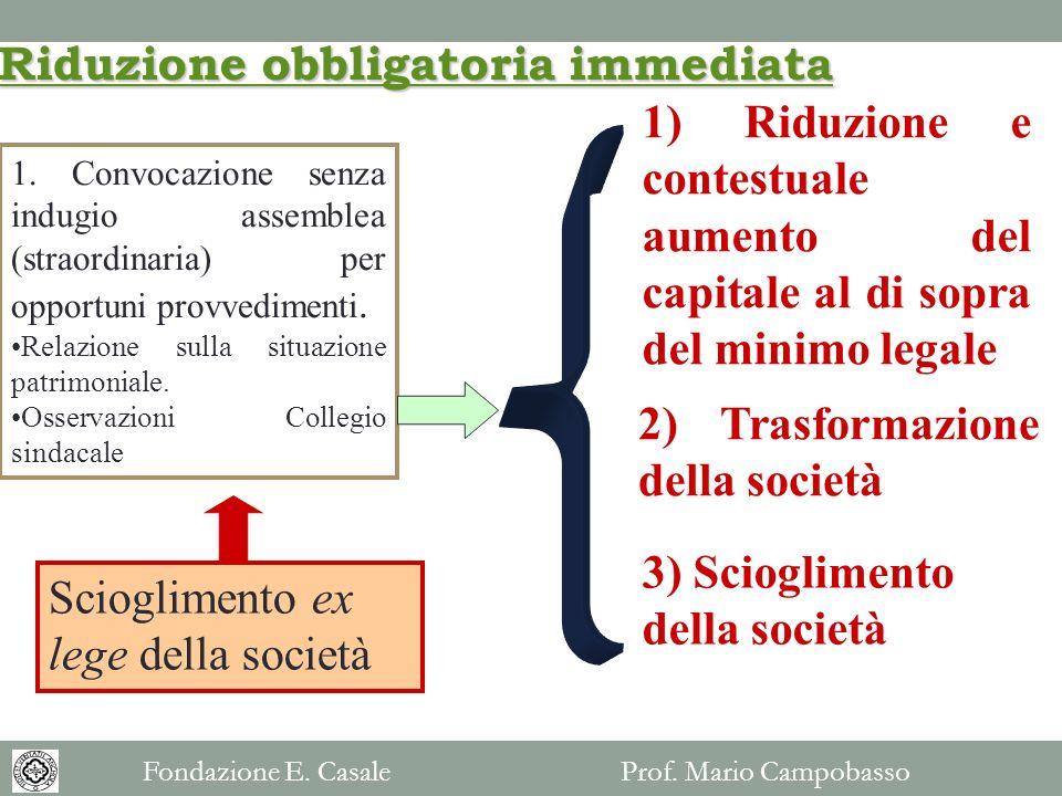 1. Convocazione senza indugio assemblea (straordinaria) per opportuni provvedimenti. Relazione sulla situazione patrimoniale. Osservazioni Collegio si