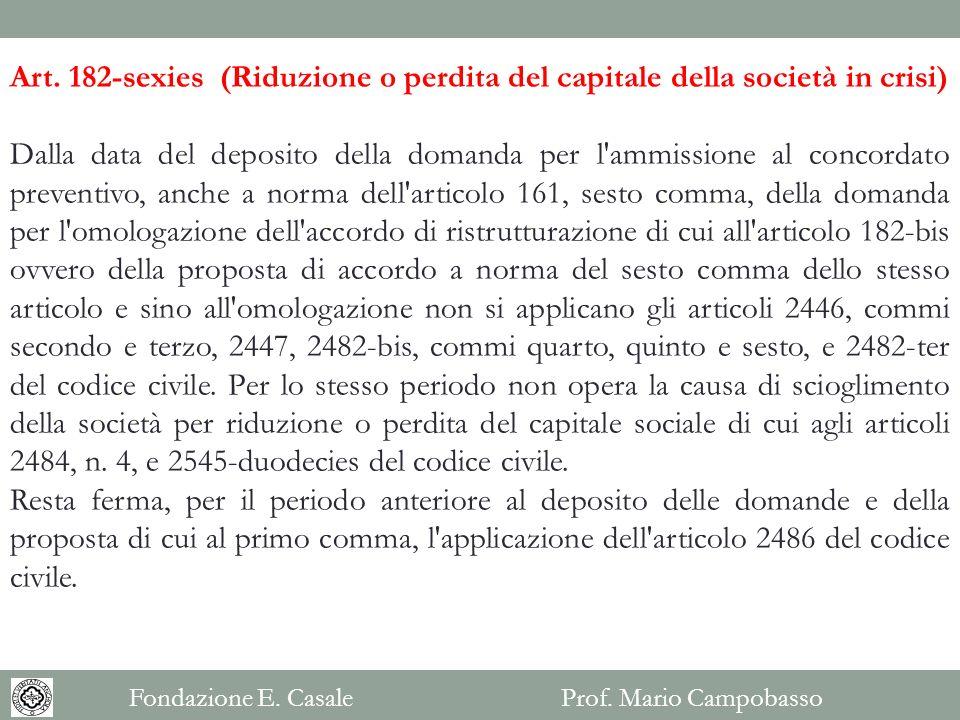 Art. 182-sexies (Riduzione o perdita del capitale della società in crisi) Dalla data del deposito della domanda per l'ammissione al concordato prevent