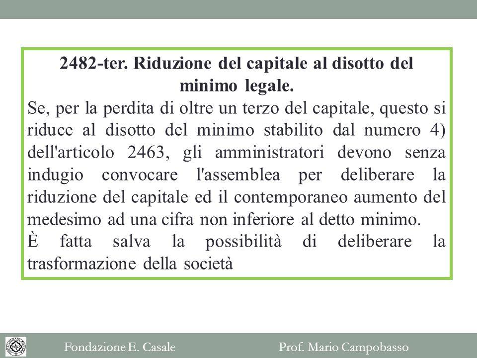 2482-ter.Riduzione del capitale al disotto del minimo legale.