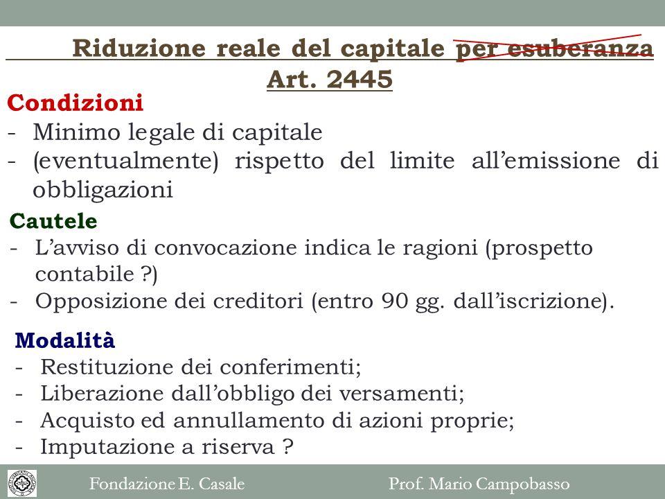 Riduzione reale del capitale per esuberanza Art. 2445 Condizioni -Minimo legale di capitale -(eventualmente) rispetto del limite allemissione di obbli