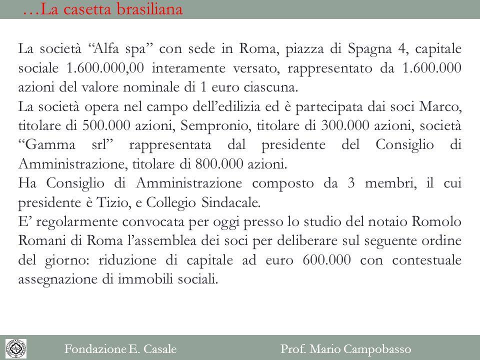 La società Alfa spa con sede in Roma, piazza di Spagna 4, capitale sociale 1.600.000,00 interamente versato, rappresentato da 1.600.000 azioni del val