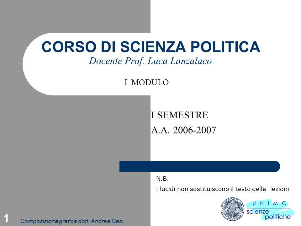 Composizione grafica dott.Andrea Dezi 1 CORSO DI SCIENZA POLITICA Docente Prof.