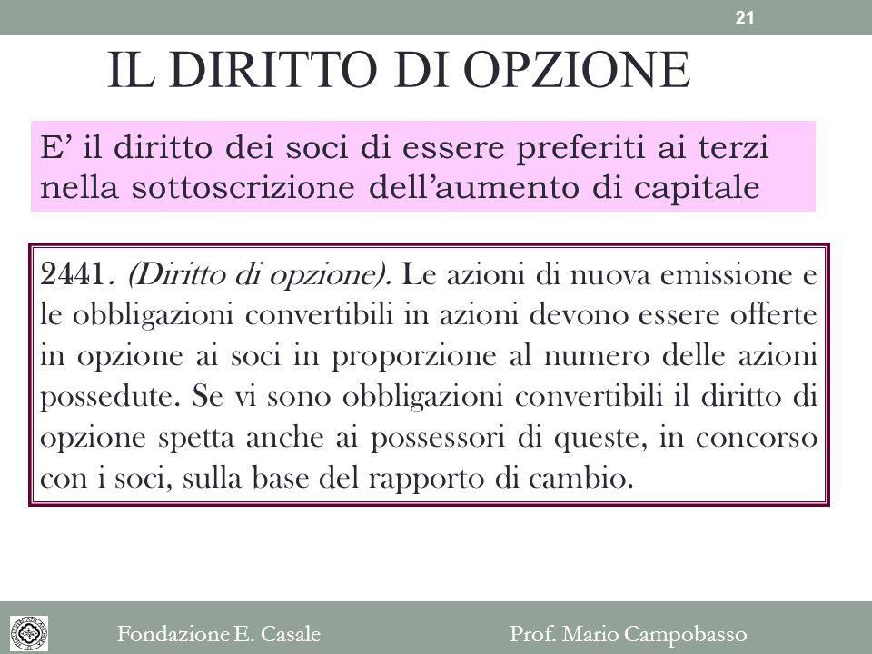 IL DIRITTO DI OPZIONE E il diritto dei soci di essere preferiti ai terzi nella sottoscrizione dellaumento di capitale 2441. (Diritto di opzione). Le a