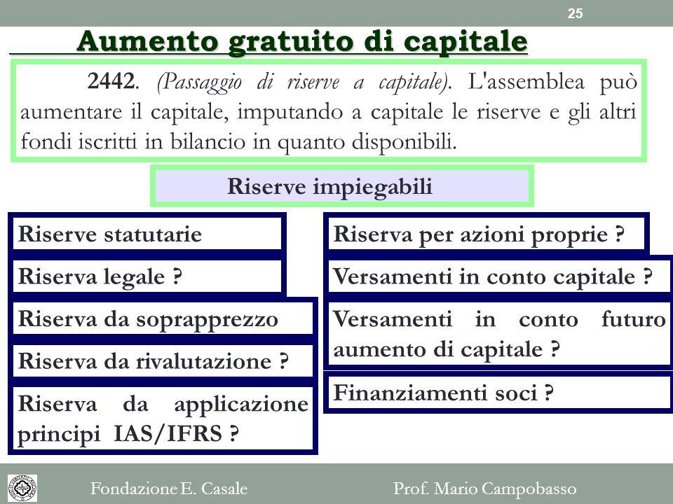 2442. (Passaggio di riserve a capitale). L'assemblea può aumentare il capitale, imputando a capitale le riserve e gli altri fondi iscritti in bilancio