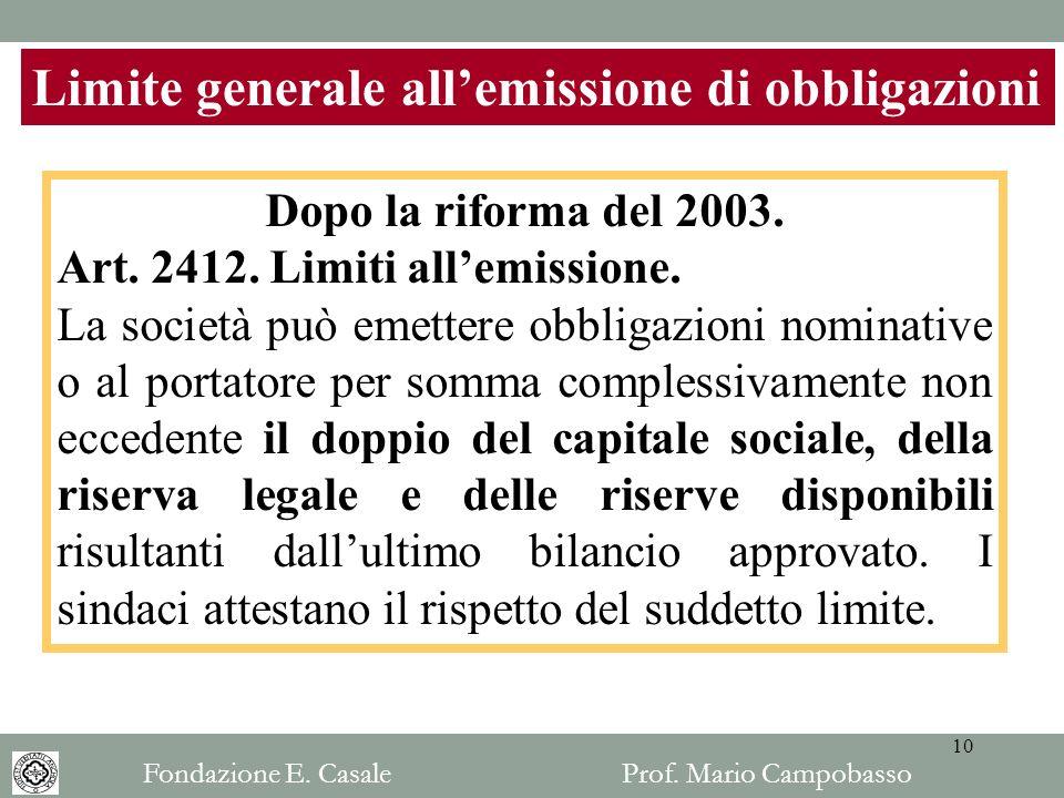 Limite generale allemissione di obbligazioni Dopo la riforma del 2003. Art. 2412. Limiti allemissione. La società può emettere obbligazioni nominative