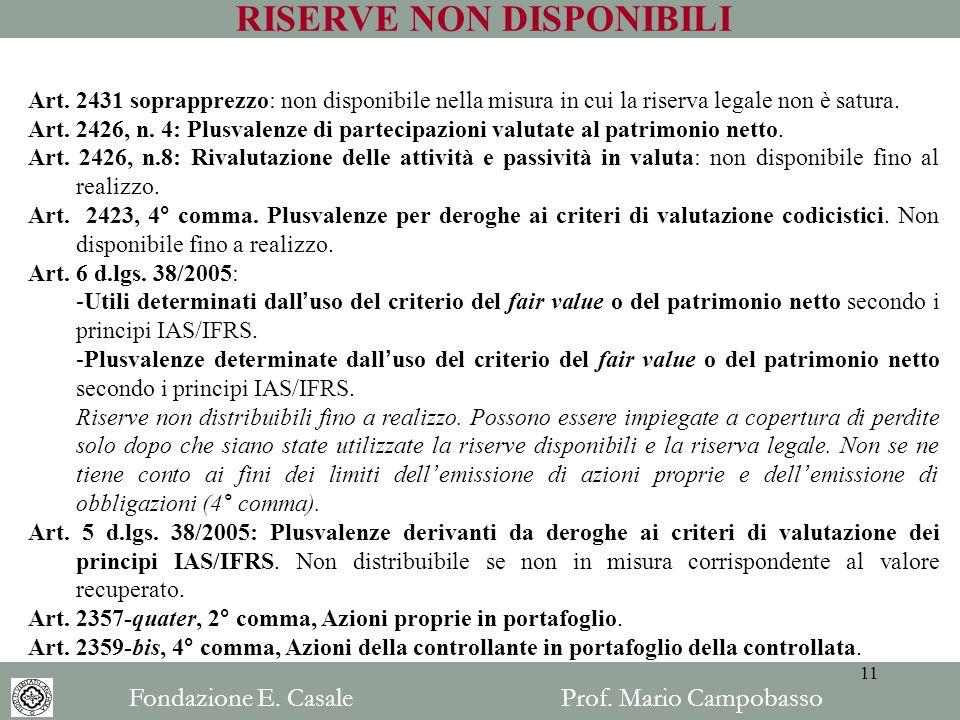 RISERVE NON DISPONIBILI Art. 2431 soprapprezzo: non disponibile nella misura in cui la riserva legale non è satura. Art. 2426, n. 4: Plusvalenze di pa
