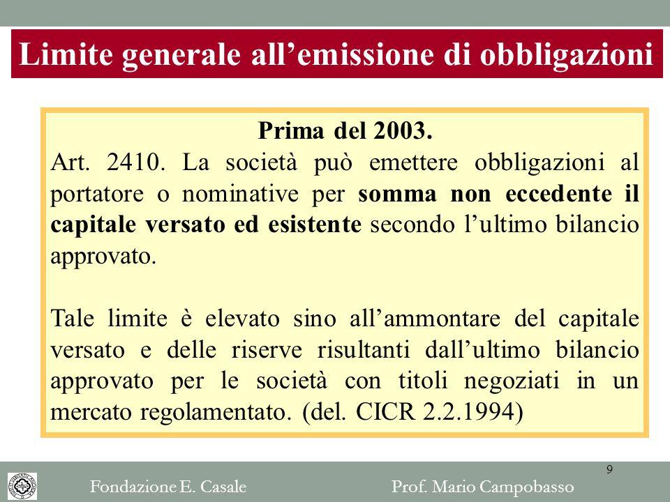 Limite generale allemissione di obbligazioni Prima del 2003. Art. 2410. La società può emettere obbligazioni al portatore o nominative per somma non e