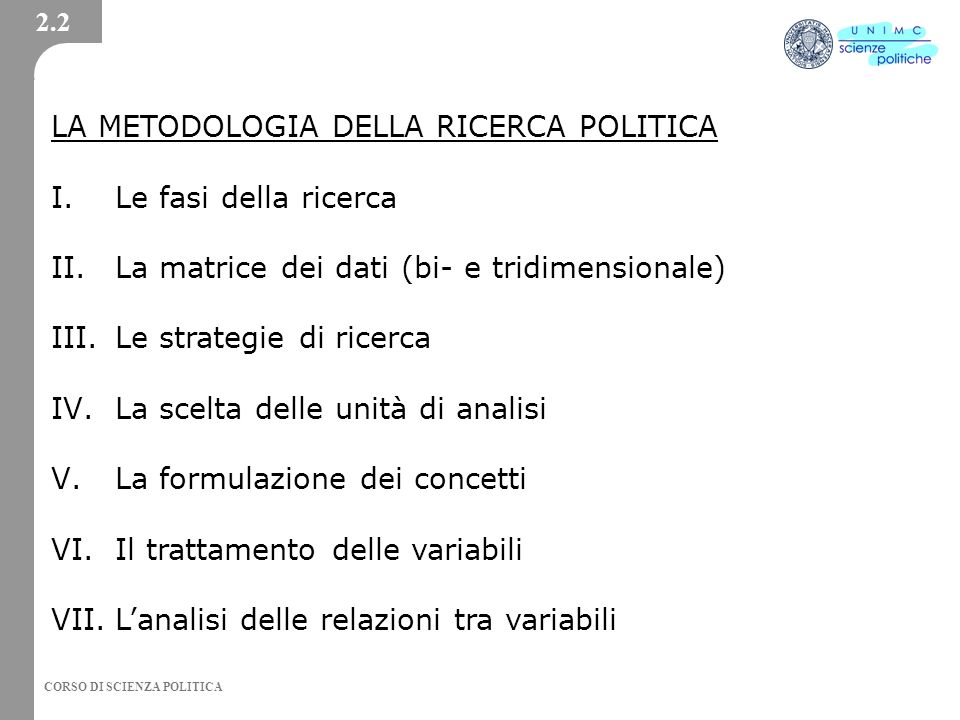 CORSO DI SCIENZA POLITICA LA METODOLOGIA DELLA RICERCA POLITICA I.Le fasi della ricerca II.La matrice dei dati (bi- e tridimensionale) III.Le strategi