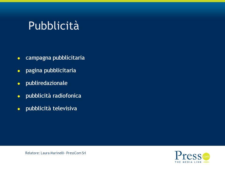 Relatore: Laura Marinelli- PressCom Srl Pubblicità campagna pubblicitaria pagina pubblicitaria publiredazionale pubblicità radiofonica pubblicità televisiva