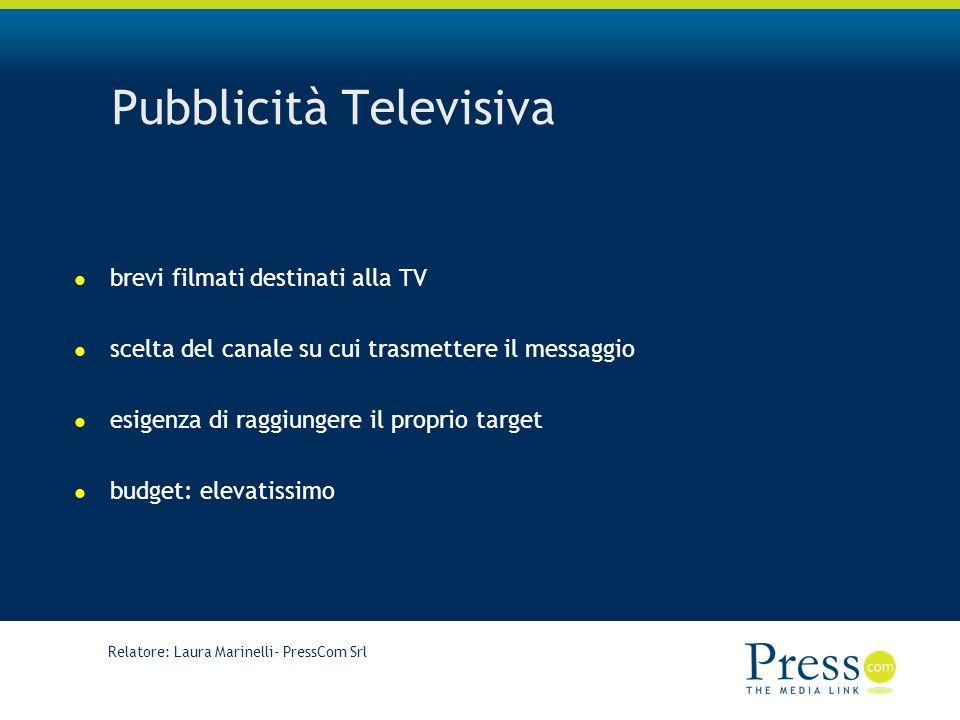 Relatore: Laura Marinelli- PressCom Srl Pubblicità Televisiva brevi filmati destinati alla TV scelta del canale su cui trasmettere il messaggio esigenza di raggiungere il proprio target budget: elevatissimo