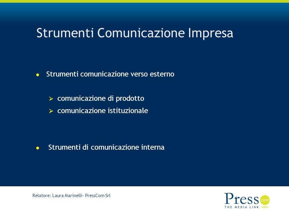 Relatore: Laura Marinelli- PressCom Srl Strumenti Comunicazione Impresa Strumenti comunicazione verso esterno comunicazione di prodotto comunicazione istituzionale Strumenti di comunicazione interna