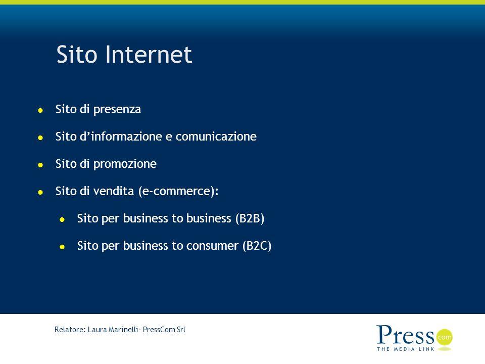 Relatore: Laura Marinelli- PressCom Srl Sito Internet Sito di presenza Sito dinformazione e comunicazione Sito di promozione Sito di vendita (e-commerce): Sito per business to business (B2B) Sito per business to consumer (B2C)