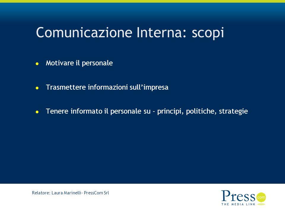Relatore: Laura Marinelli- PressCom Srl Comunicazione Interna: scopi Motivare il personale Trasmettere informazioni sullimpresa Tenere informato il personale su - principi, politiche, strategie