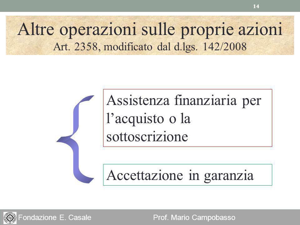 14 Fondazione E. Casale Prof. Mario Campobasso Altre operazioni sulle proprie azioni Art. 2358, modificato dal d.lgs. 142/2008 Assistenza finanziaria