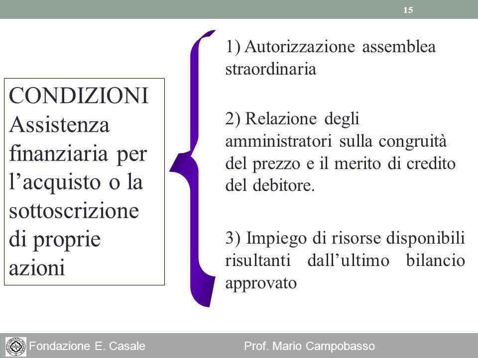 15 Fondazione E. Casale Prof. Mario Campobasso 2) Relazione degli amministratori sulla congruità del prezzo e il merito di credito del debitore. CONDI