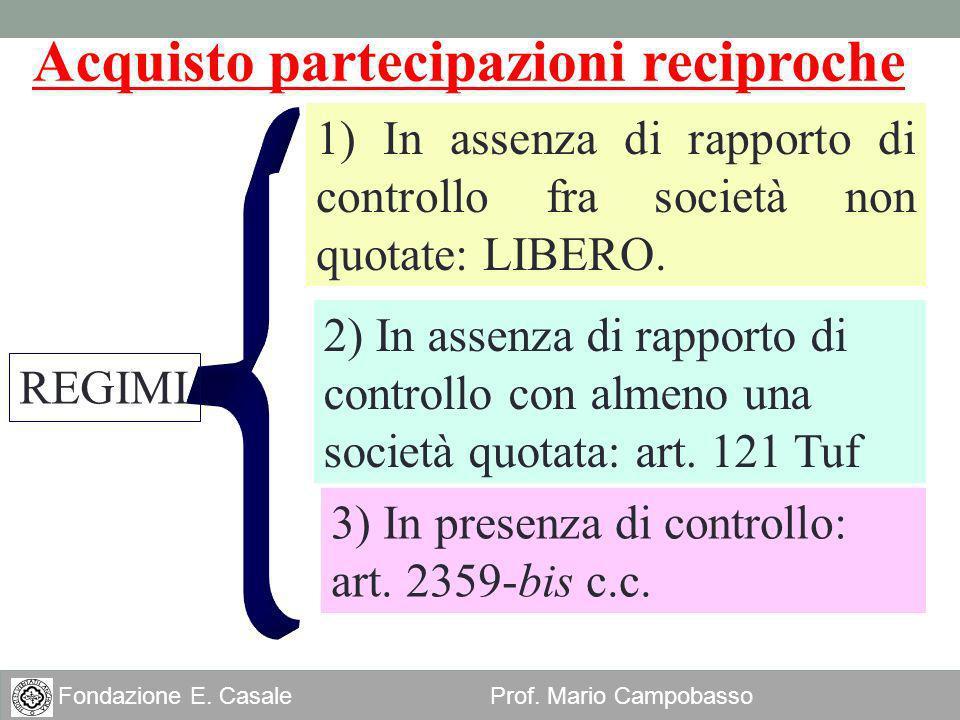 20 Fondazione E. Casale Prof. Mario Campobasso Acquisto partecipazioni reciproche 2) In assenza di rapporto di controllo con almeno una società quotat