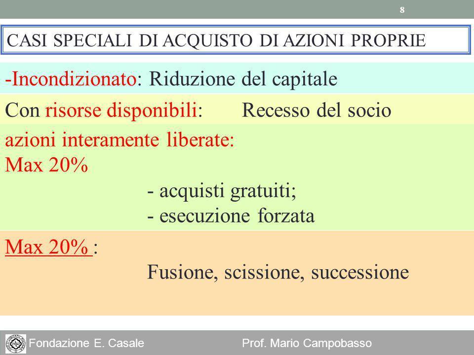 8 Fondazione E. Casale Prof. Mario Campobasso CASI SPECIALI DI ACQUISTO DI AZIONI PROPRIE -Incondizionato: Riduzione del capitale Max 20% : Fusione, s