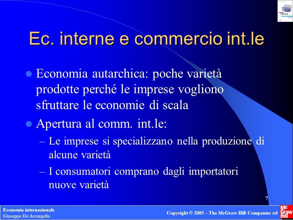 Economia internazionale Giuseppe De Arcangelis Copyright © 2005 – The McGraw-Hill Companies srl 18 Modello di esempio Due beni: X, Y; due economie: 1 e 2; un fattore produttivo: L Economie identiche in quanto a tecnologia, dotazioni di L, preferenze Settore Y (ReSCo): Y=L Y Settore X (ReSCr): X= L X – L 0 Vincolo di piena occupazione: L= L Y + L X Curva di trasformazione (per ambedue le economie): Y = L – L 0 – X
